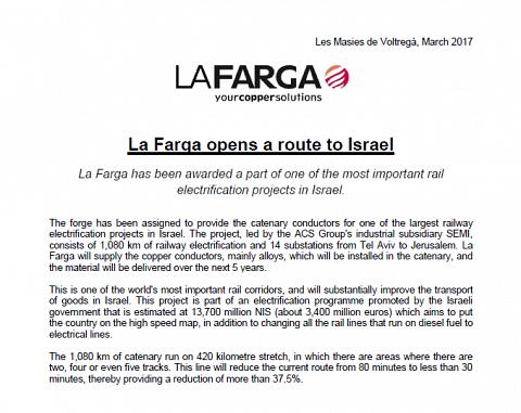 La Farga opens a route to Israel - La Farga